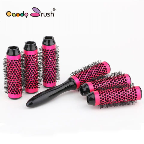 Image of Blow Dry Thermal Hair Brush with Detachable Rollers