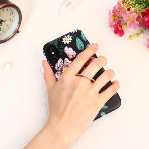 iPhone X Flowers Pattern Phone Case - Ring Shockproof Protective