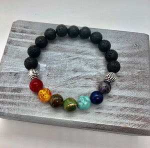 7 Chakra Healing Beaded Natural Lava Stone Diffuser Bracelet- 10 mm beads (Womens size 18.5 mm)