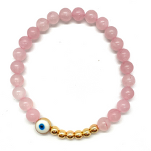 Load image into Gallery viewer, Pink Tigers Eye and Gold Hematite Evil Eye