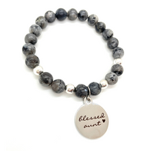 "Load image into Gallery viewer, Gemstone ""Blessed Aunt"" Silver Charm Bracelet"