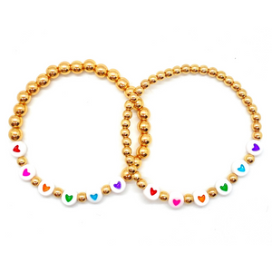 Gold Rainbow Hearts