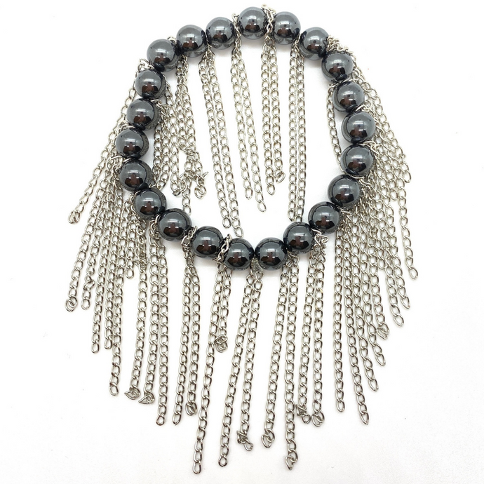 Hematite with Silver Chain Fringe