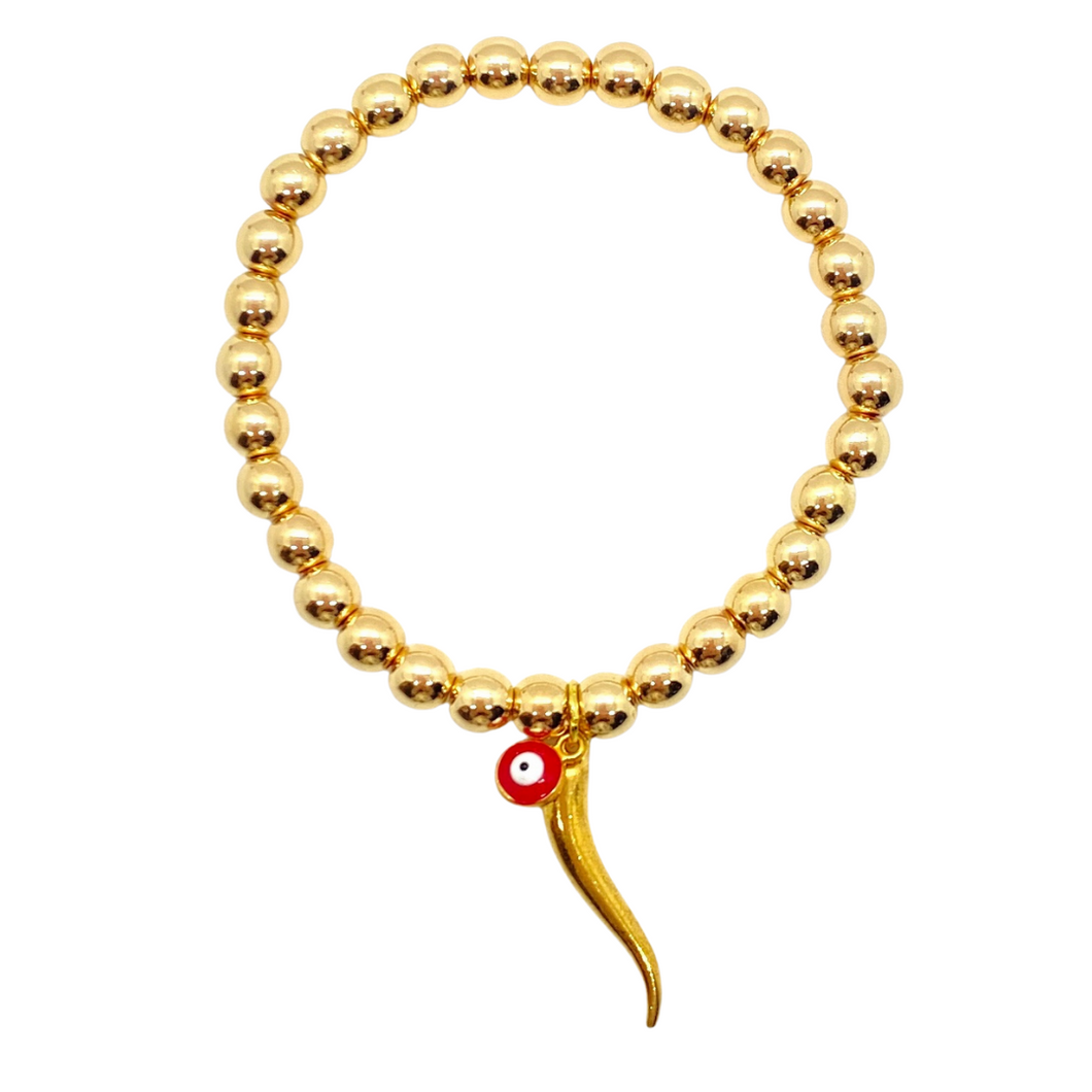Gold Hematite with Cornicello and Evil Eye (evil eye available in assorted colors)