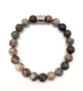 Gobi Desert Agate Gemstone bracelet with Stainless Steel Accent