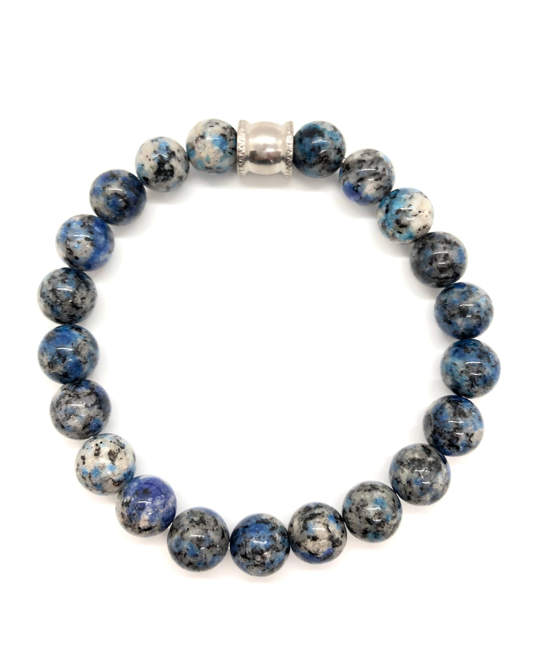 Blue Granite Gemstone bracelet with Stainless Steel Accent