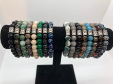 Load image into Gallery viewer, Gobi Desert Agate Gemstone bracelet with Stainless Steel Accent