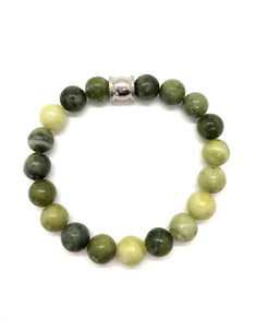 Peridot Jade Gemstone bracelet with Stainless Steel Accent