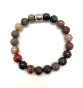 Succor Creek Jasper Gemstone bracelet with Stainless Steel Accent