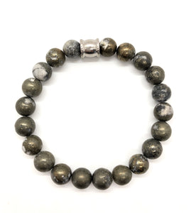Iron Pyrite Gemstone bracelet with Stainless Steel Accent