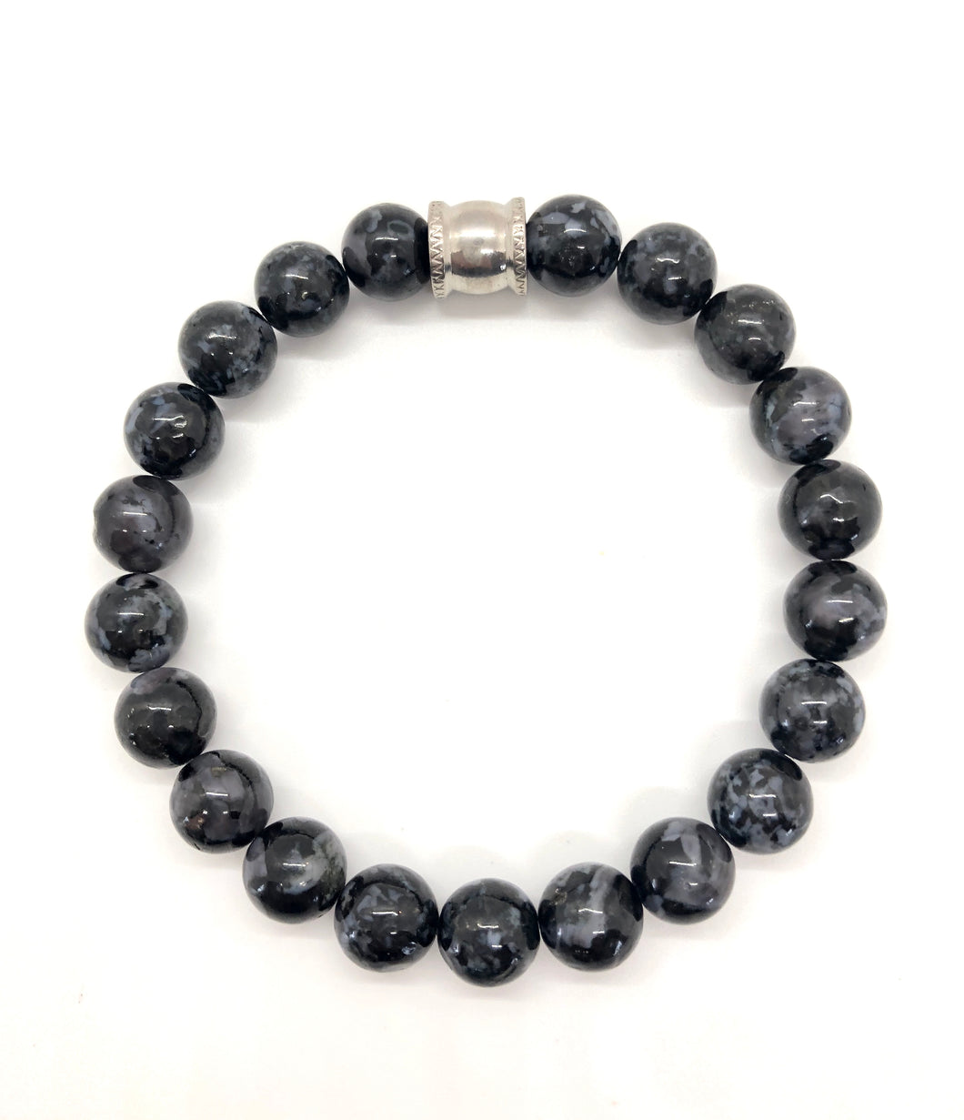 Indigo Gabbro Mystic Merlinite Gemstone bracelet with Stainless Steel Accent