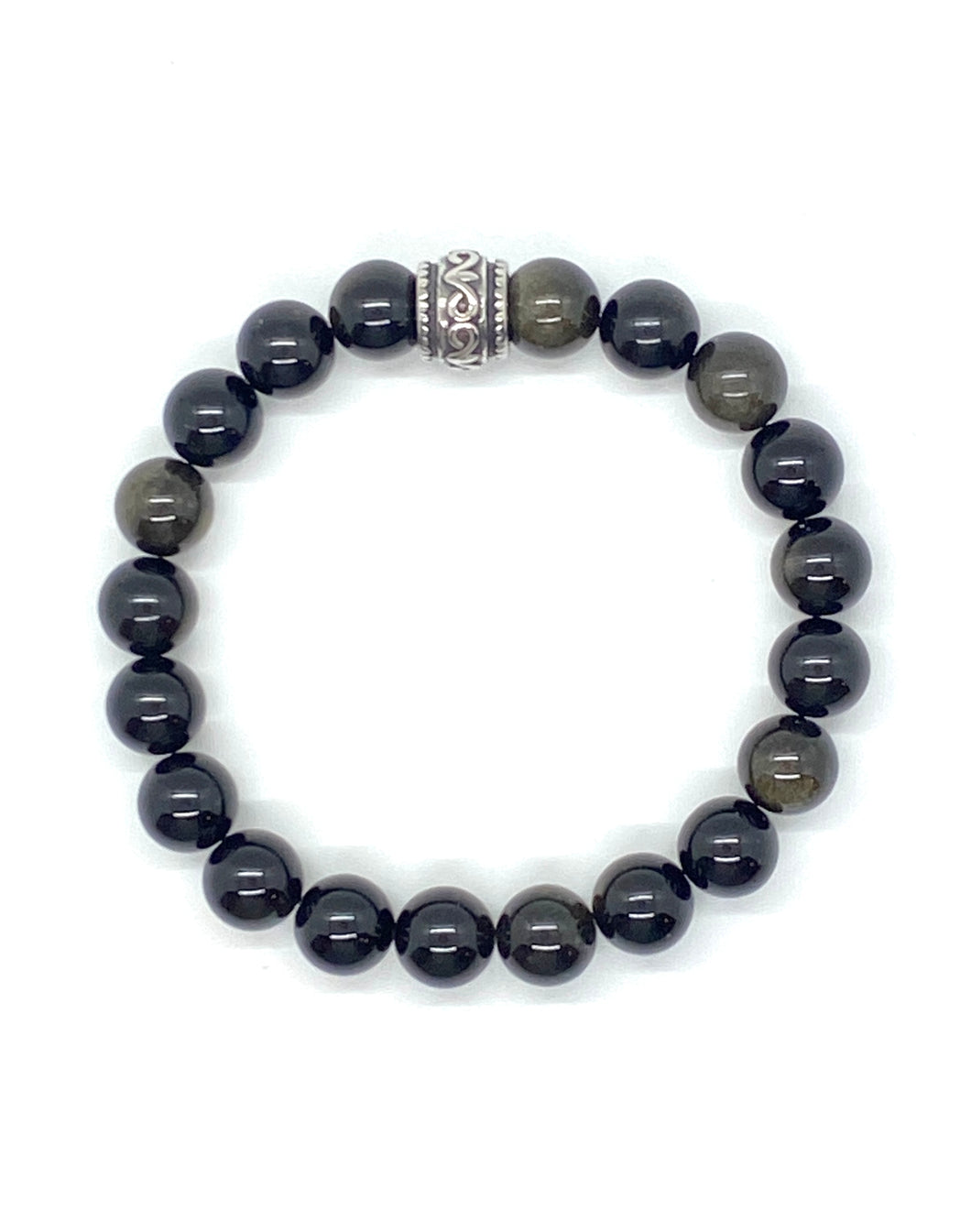Silver Obsidian Gemstone bracelet with Stainless Steel Accent