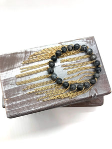 Larvikite stone all around gold chain fringe bracelet