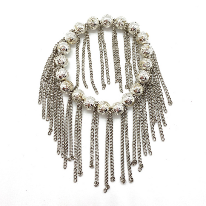 Silver Lava with Silver Chain Fringe
