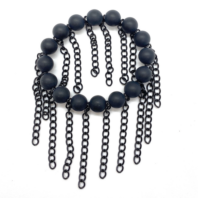 Matte Black Onyx with Matte Black Chain Fringe
