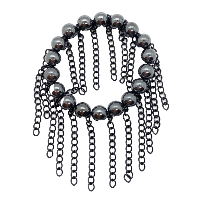 Hematite with Matte Black Chain Fringe
