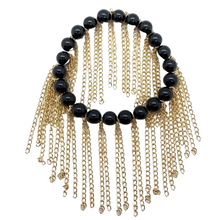 Load image into Gallery viewer, Shiny Black Onyx with Gold Chain Fringe (8mm)