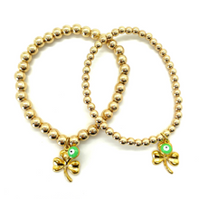 Load image into Gallery viewer, Gold Shamrock with Green Evil Eye