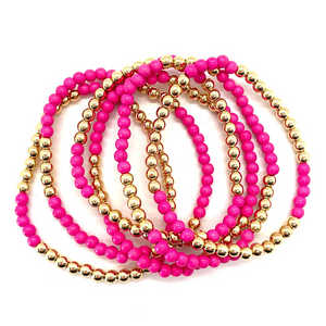 Gold Hematite and Hot Pink Stone Party Stack