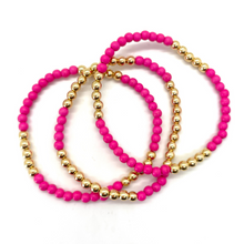 Load image into Gallery viewer, Gold Hematite and Hot Pink Stone Party Stack