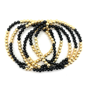 Gold Hematite and Black Onyx Party Stack