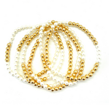 Load image into Gallery viewer, Gold Hematite and White Pearl Party Stack