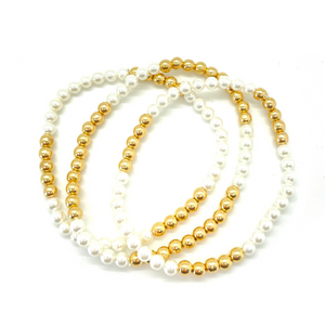 Gold Hematite and White Pearl Party Stack