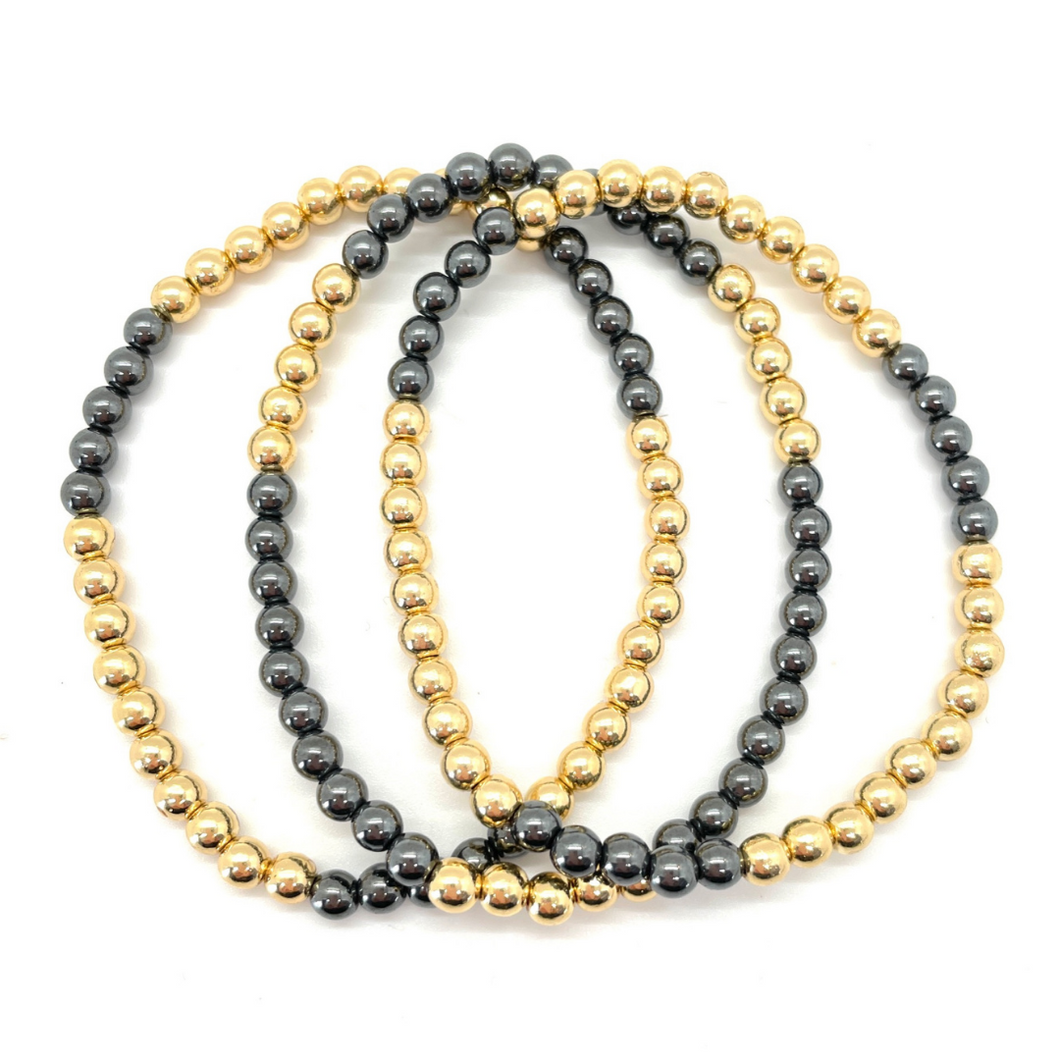 Gold and Gunmetal Silver Hematite Party Stack