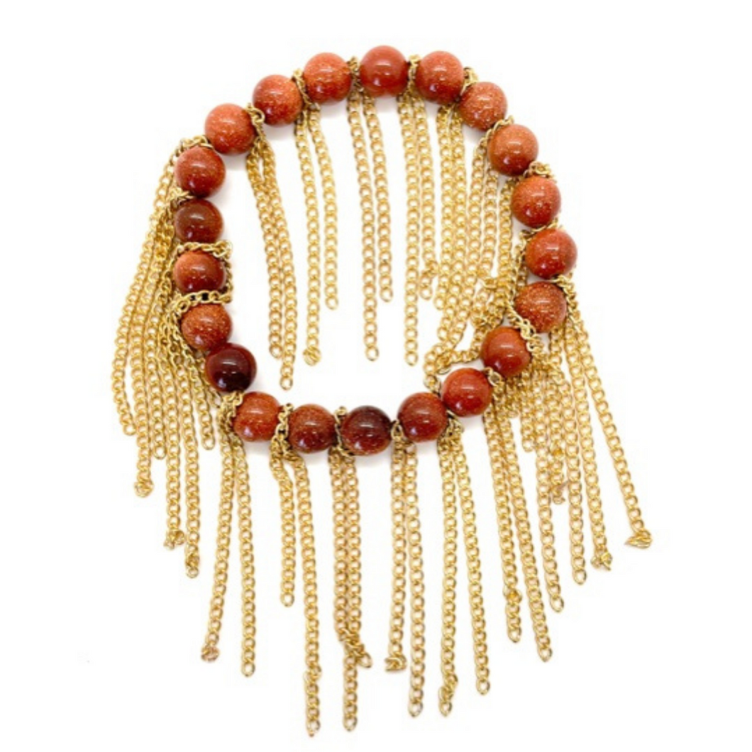 Fossil Jasper with Gold Chain Fringe