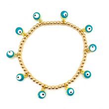 Load image into Gallery viewer, Gold Hematite All Around Teal Evil Eye Bracelet