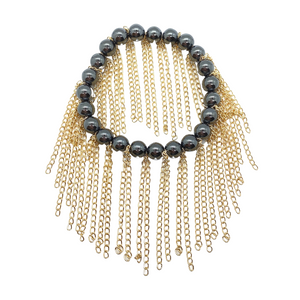 Hematite with Gold Chain Fringe