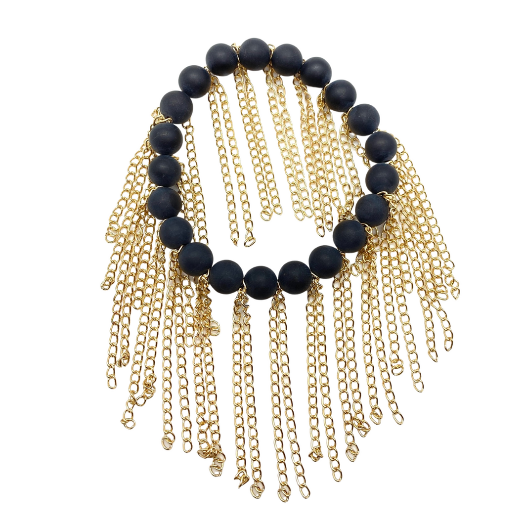Matte Black Onyx with Gold Chain Fringe
