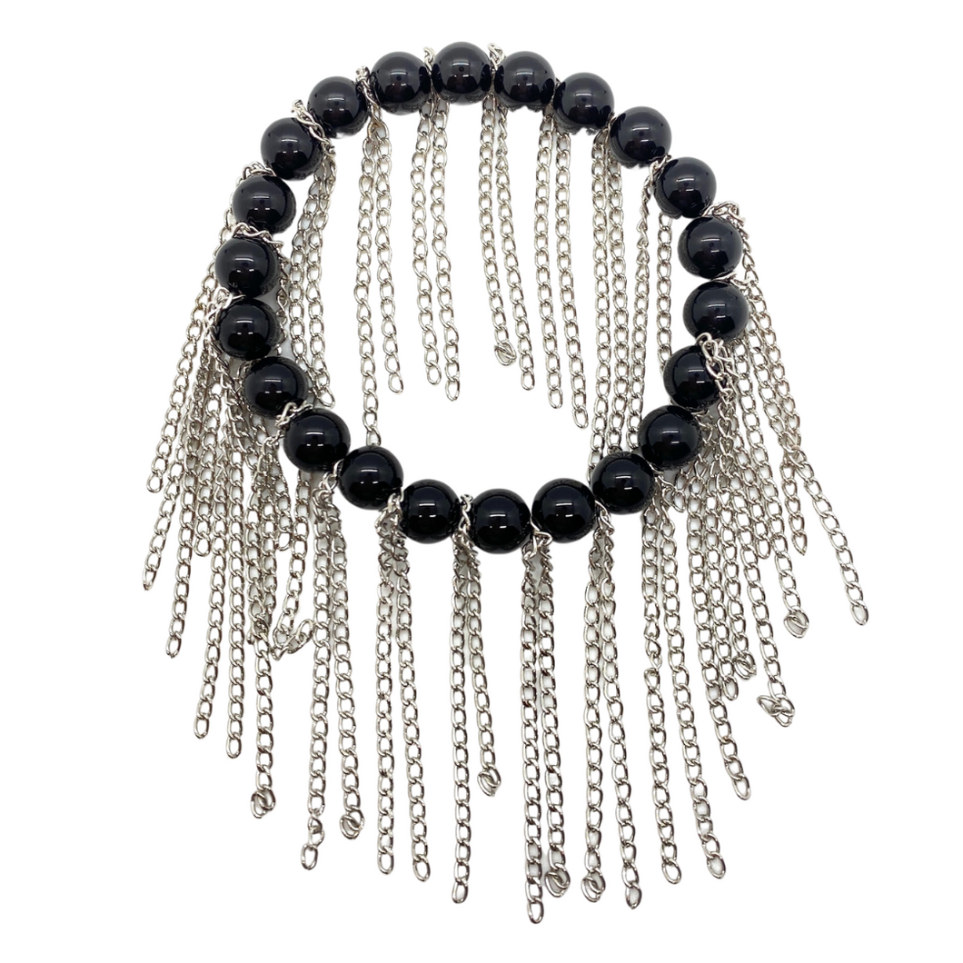 Shiny Black Onyx with Silver Chain Fringe