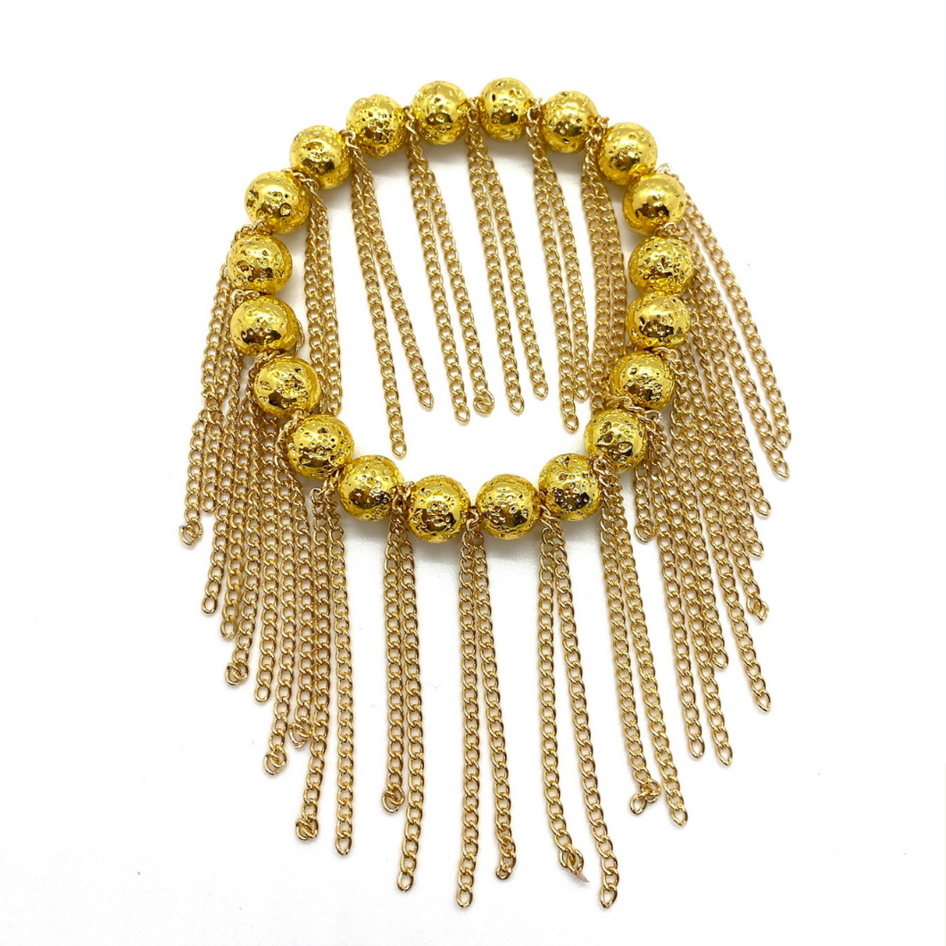 Gold Lava with Gold Chain Fringe