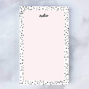 pink black dot notepad