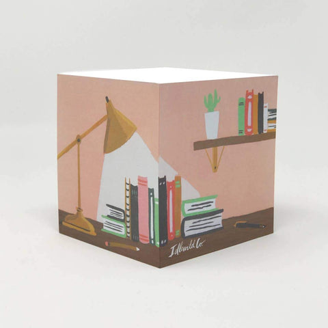 library book desk note pad cube