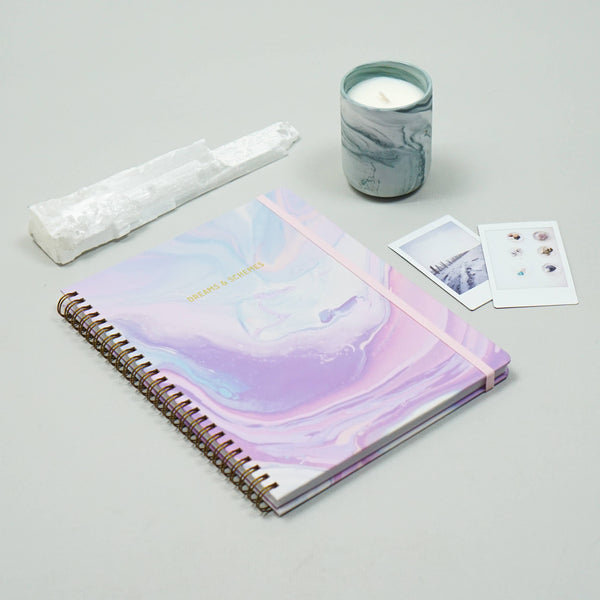 purple marble notebook