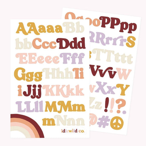 vintage 70s alphabet sticker sheet