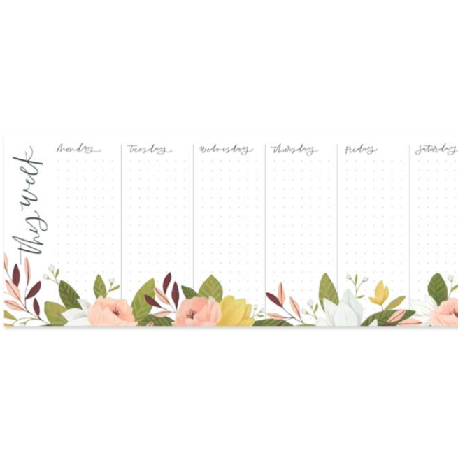 floral weekly notepad