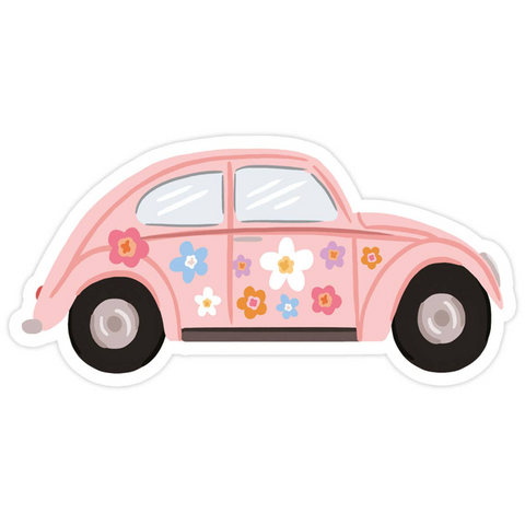 pink floral beetle buggie sticker
