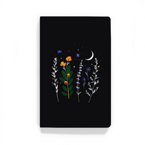 black moon celestial floral notebook