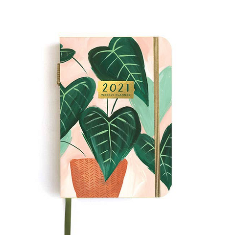 2021 Petite Green Leaf Weekly Planner | Jan-Dec 2021