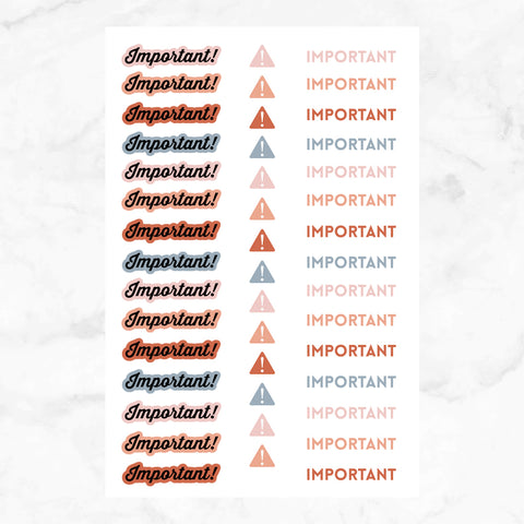 Important Planner Stickers | 2 Sheets