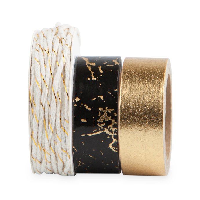 gold black twine and washi tape