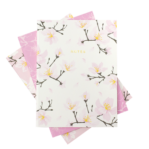 pink sakura cherry blossom notebook set