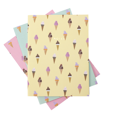 pastel ice cream notebook set