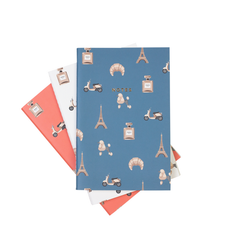 Paris Eifell tower poodle croissant notebooks