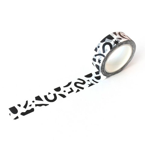 black and white confetti washi tape