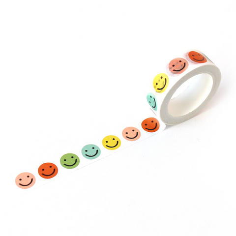 colorful smile face washi tape
