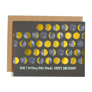 Gold foil moon birthday greeting card